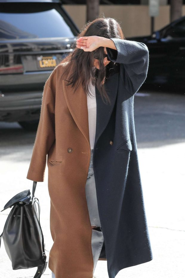 Kourtney Kardashian in Brown and Black Coat - Out in Los Angeles