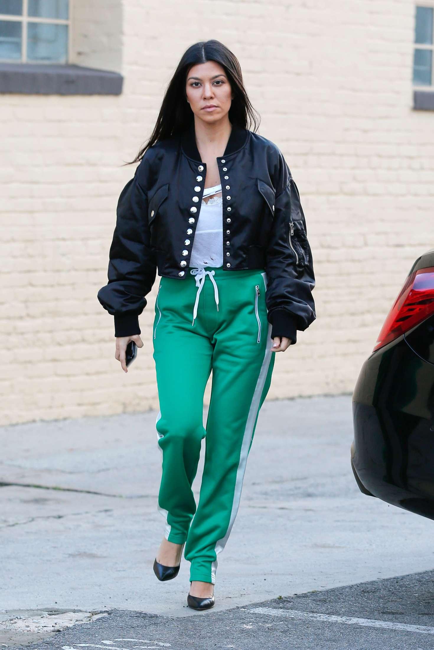 Kourtney Kardashian In Green Street Style 03 Gotceleb
