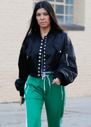Kourtney Kardashian in green street style out in West Hollywood