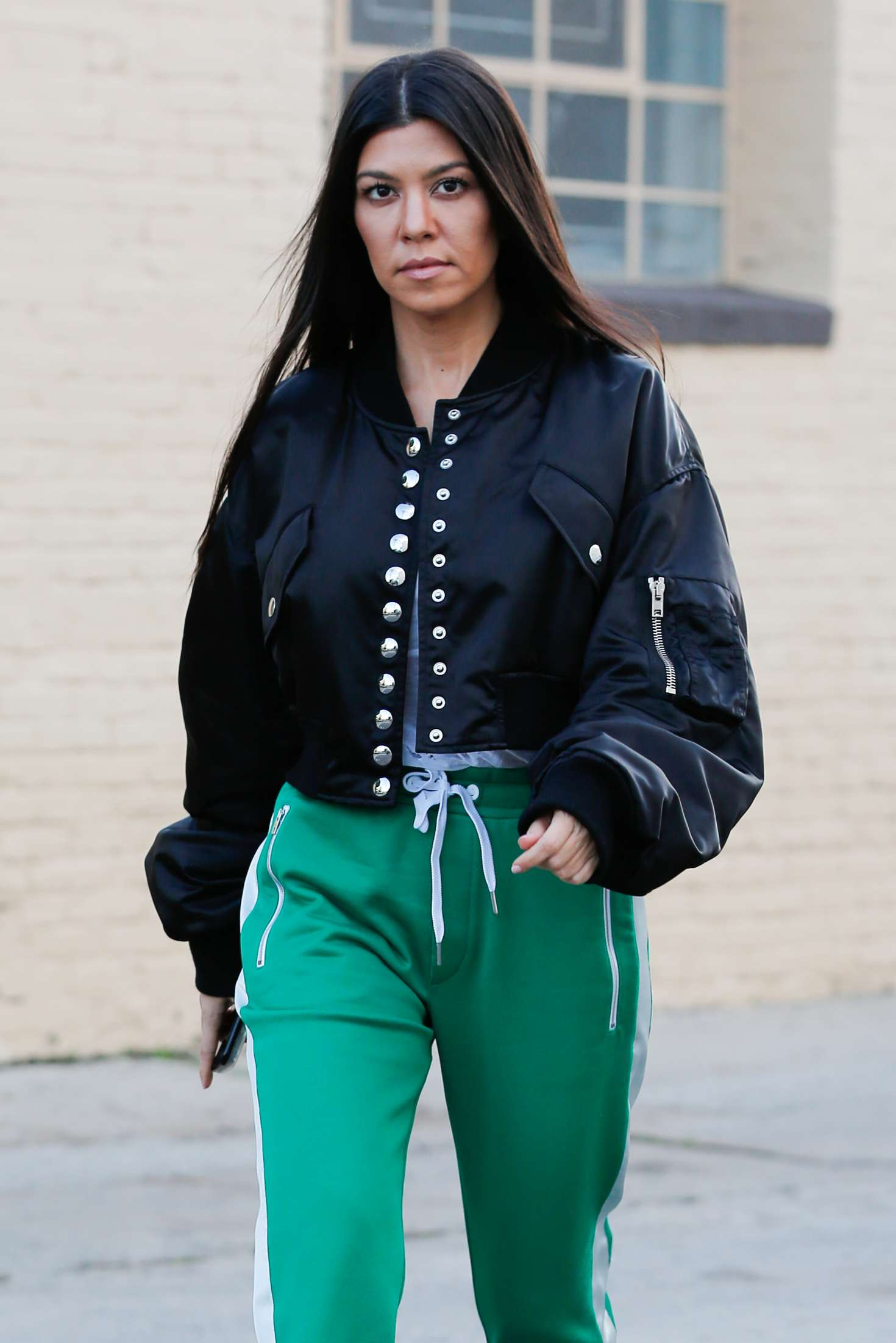 Kourtney Kardashian In Green Street Style Out In West