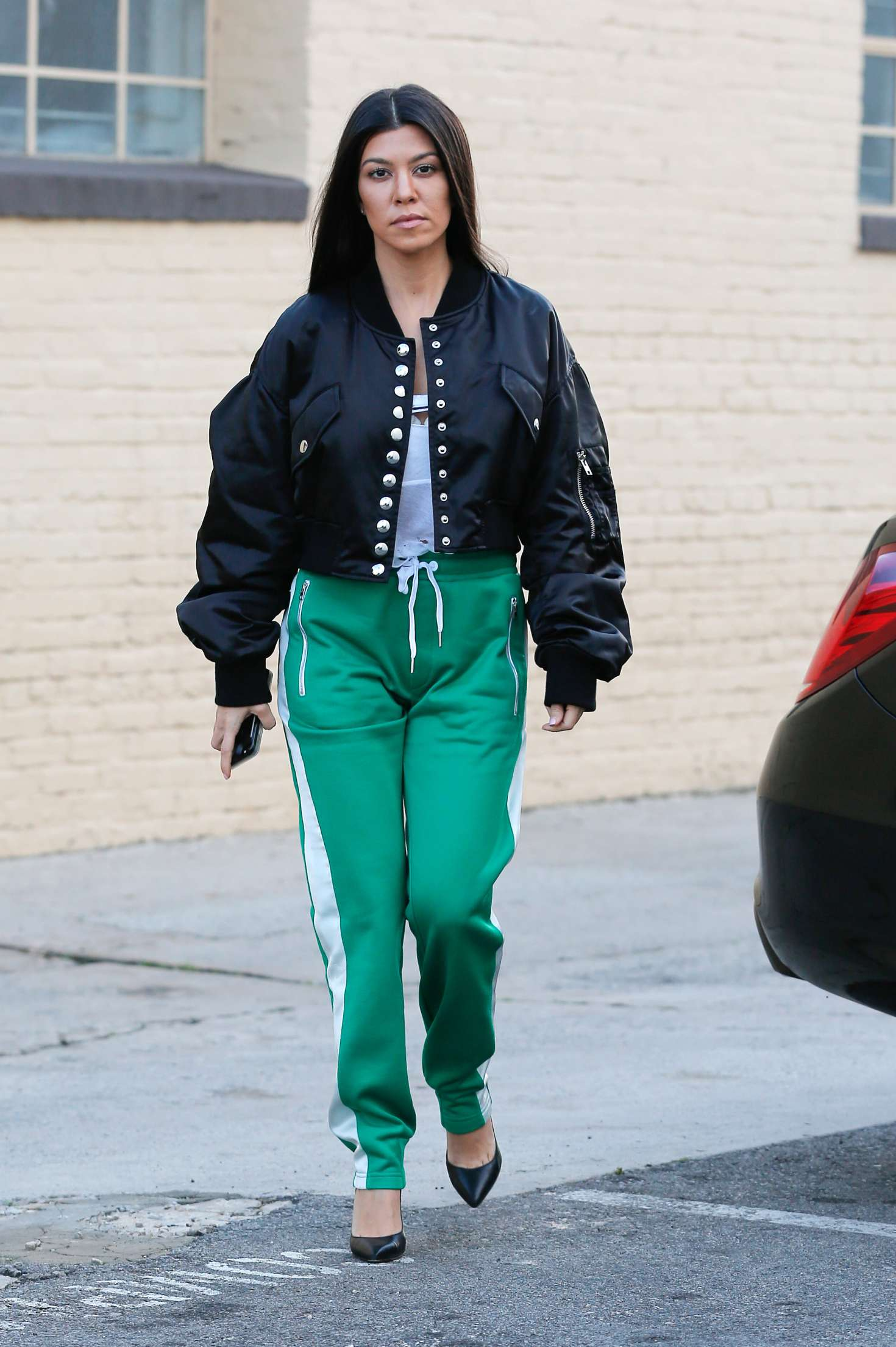 Kourtney Kardashian In Green Street Style 08 Gotceleb