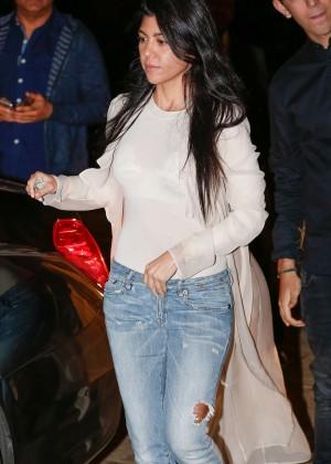 Kourtney Kardashian in Jeans at Nobu in Malibu