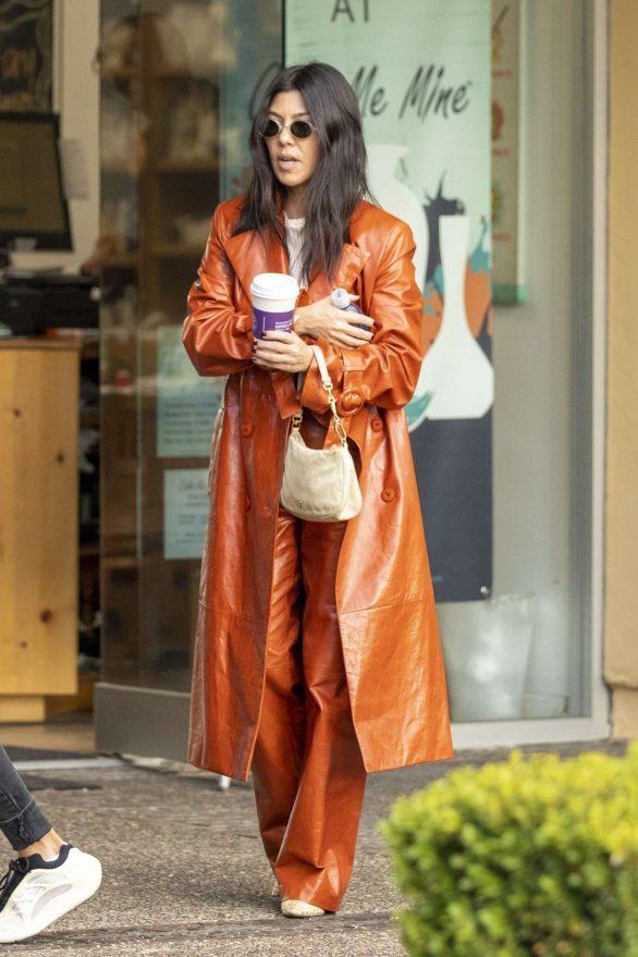 Kourtney Kardashian in Leather Coat and Pants at Rosti Cafe in Calabasas