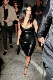 Kourtney Kardashian in Leather Dress - Arrives at Craig's in West Hollywood