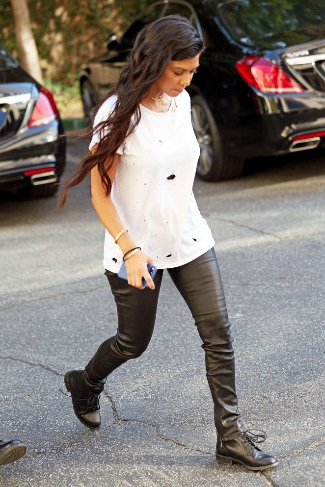Kourtney Kardashian in Leather Pants out in Calabasas