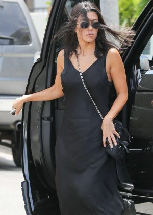 Kourtney Kardashian in Long Black Dress - Shopping in Los Angeles