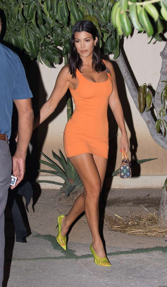 Kourtney Kardashian in Orange Mini Dress - Out for dinner in Mexico