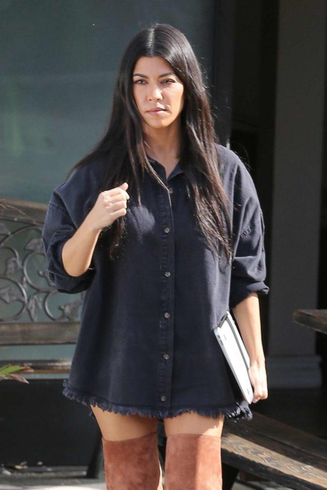 Kourtney Kardashian in overknee boots Leaving a studio in LA
