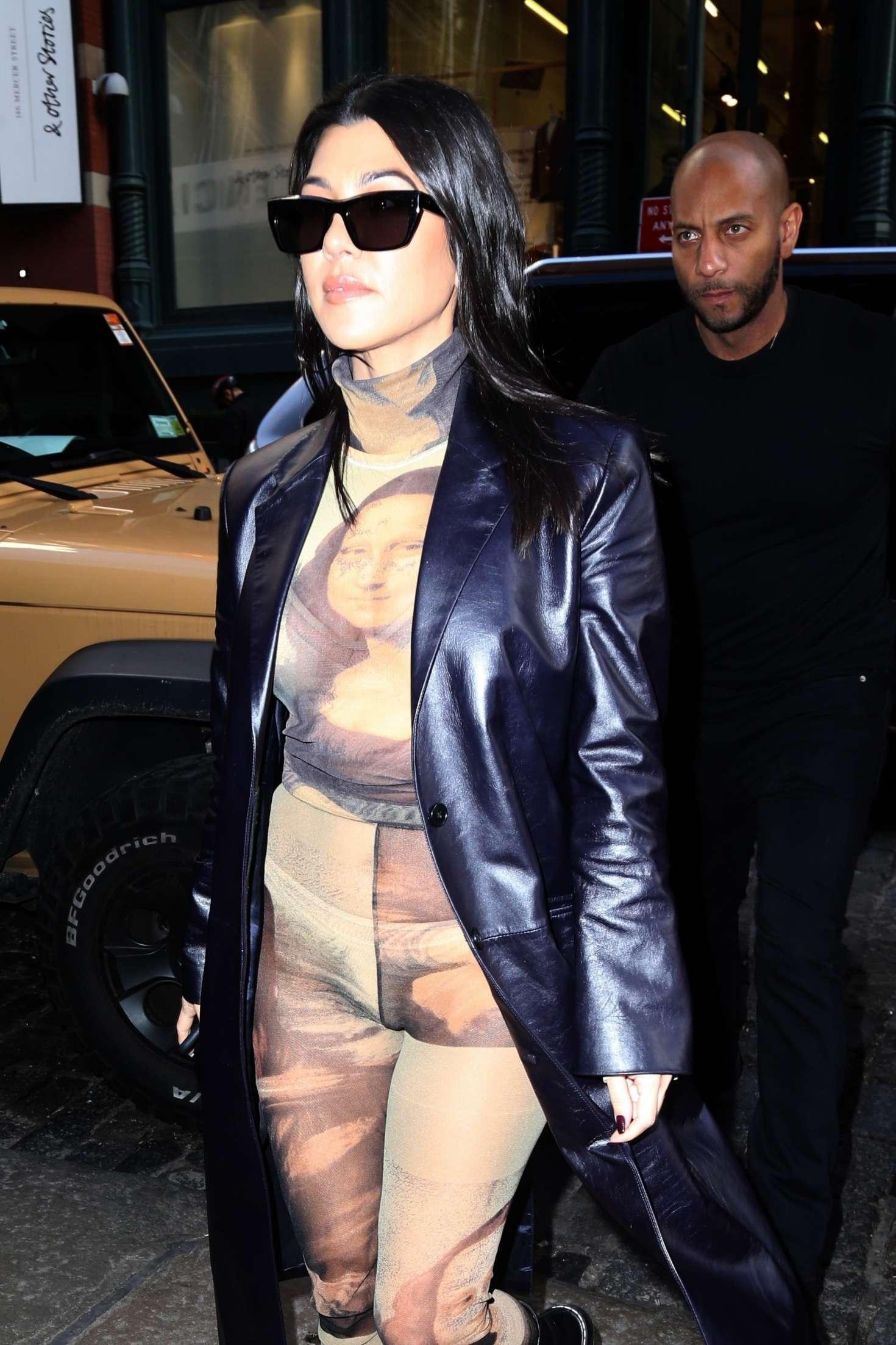 Kourtney Kardashian in Print Jumpsuit - Out in New York City