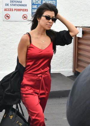 Kourtney Kardashian in Red Leaving Eden Roc Hotel in Antibes