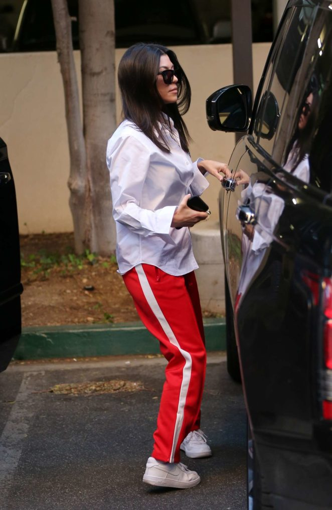 Kourtney Kardashian in Red Pants – Out in Los Angeles