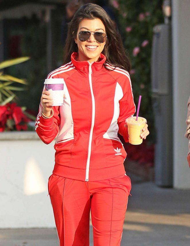 Kourtney Kardashian in Red Sweats in Malibu