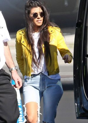 Kourtney Kardashian in Ripped Jeans at Airport in Van Nuys