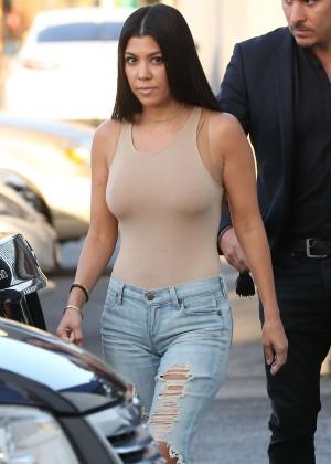 Kourtney Kardashian in Ripped jeans at studio in Van Nuys