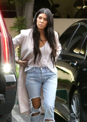 Kourtney Kardashian in Ripped Jeans out in Calabasas