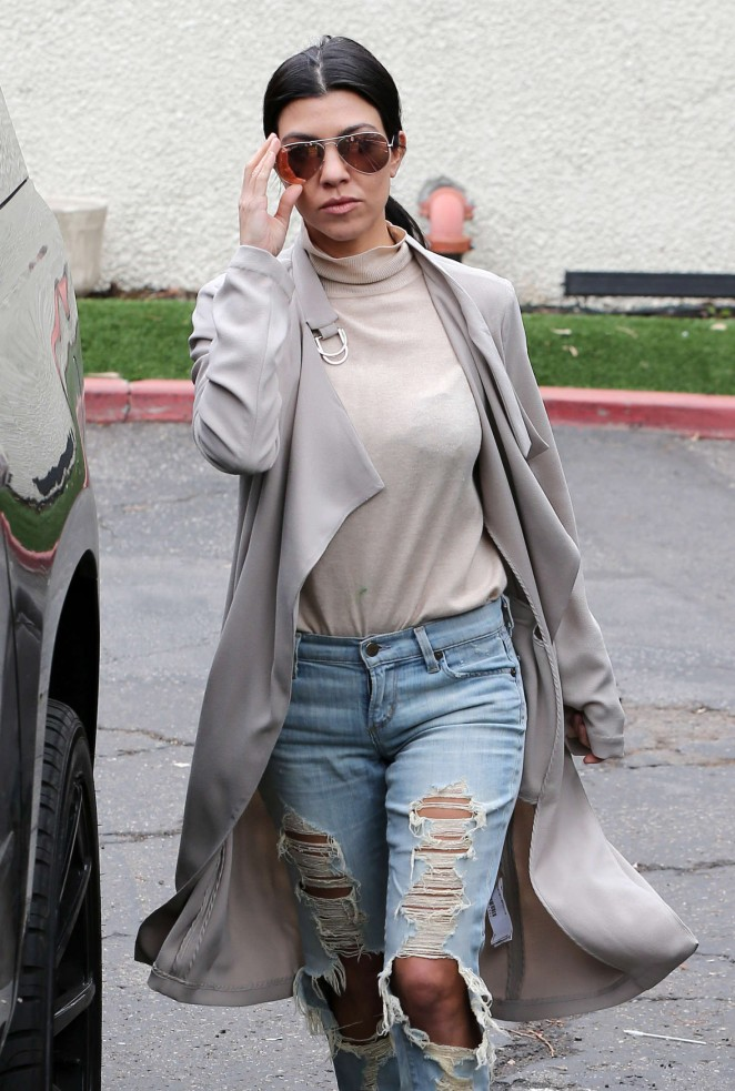 Kourtney Kardashian in Ripped Jeans out in West Lake Village