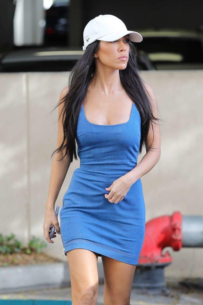 Kourtney Kardashian in Shorts Dress Out in Los Angeles