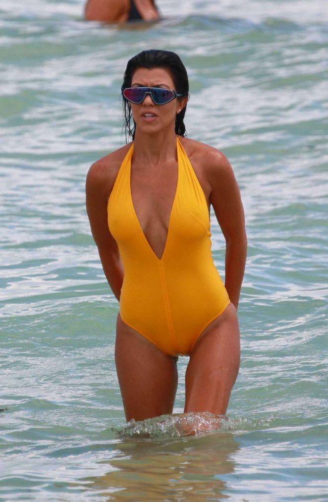 Kourtney Kardashian in Swimsuit at the Beach in Miami