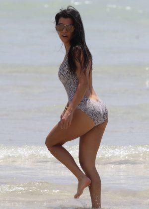 Kourtney Kardashian in Swimsuit on the beach in Miami