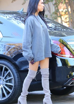 Kourtney Kardashian in thigh high boots out in Sherman Oaks