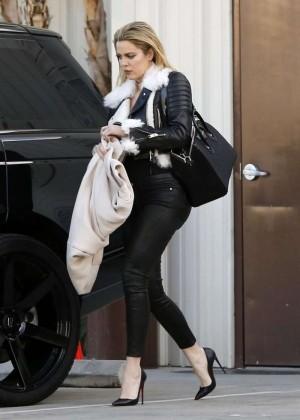 Kourtney Kardashian in Tight Pants at a studio in Van Nuys