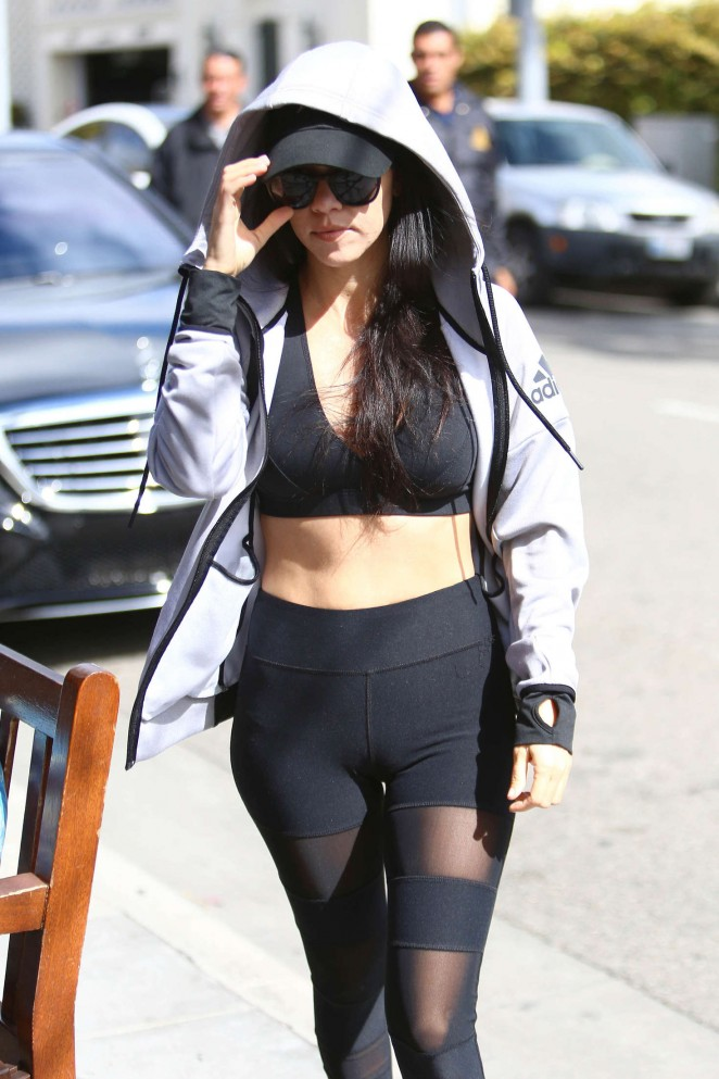 Kourtney Kardashian in Tights and Sports Bra out in Los Angeles