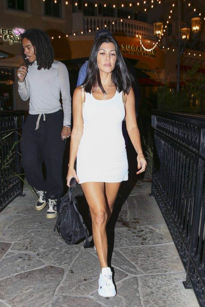 Kourtney Kardashian in White Mini Dress - Night out in Calabasas