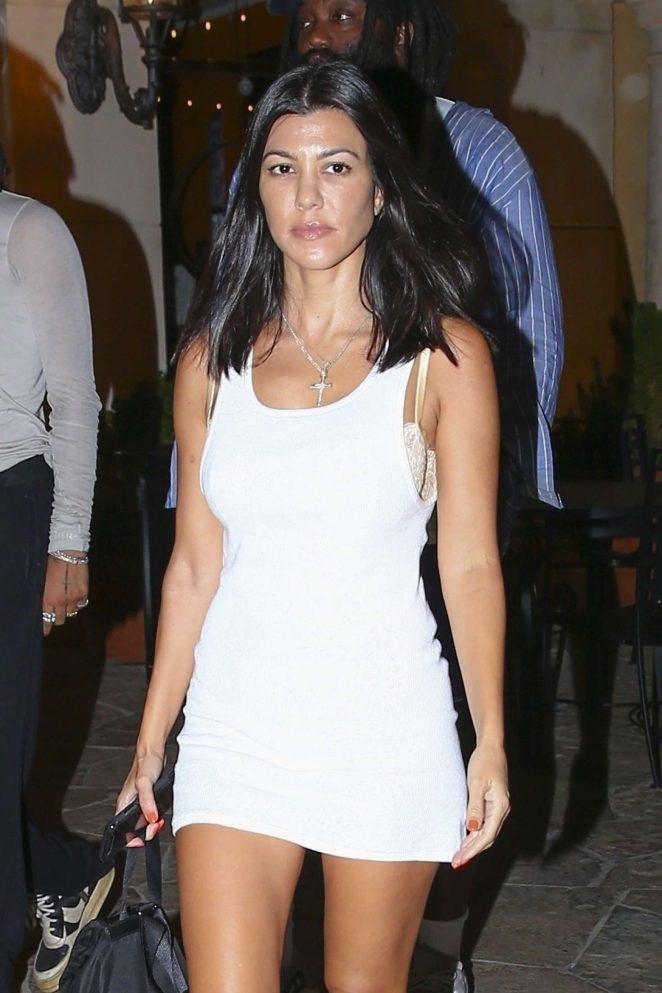 Kourtney Kardashian in White Mini Dress – Out in Calabasas