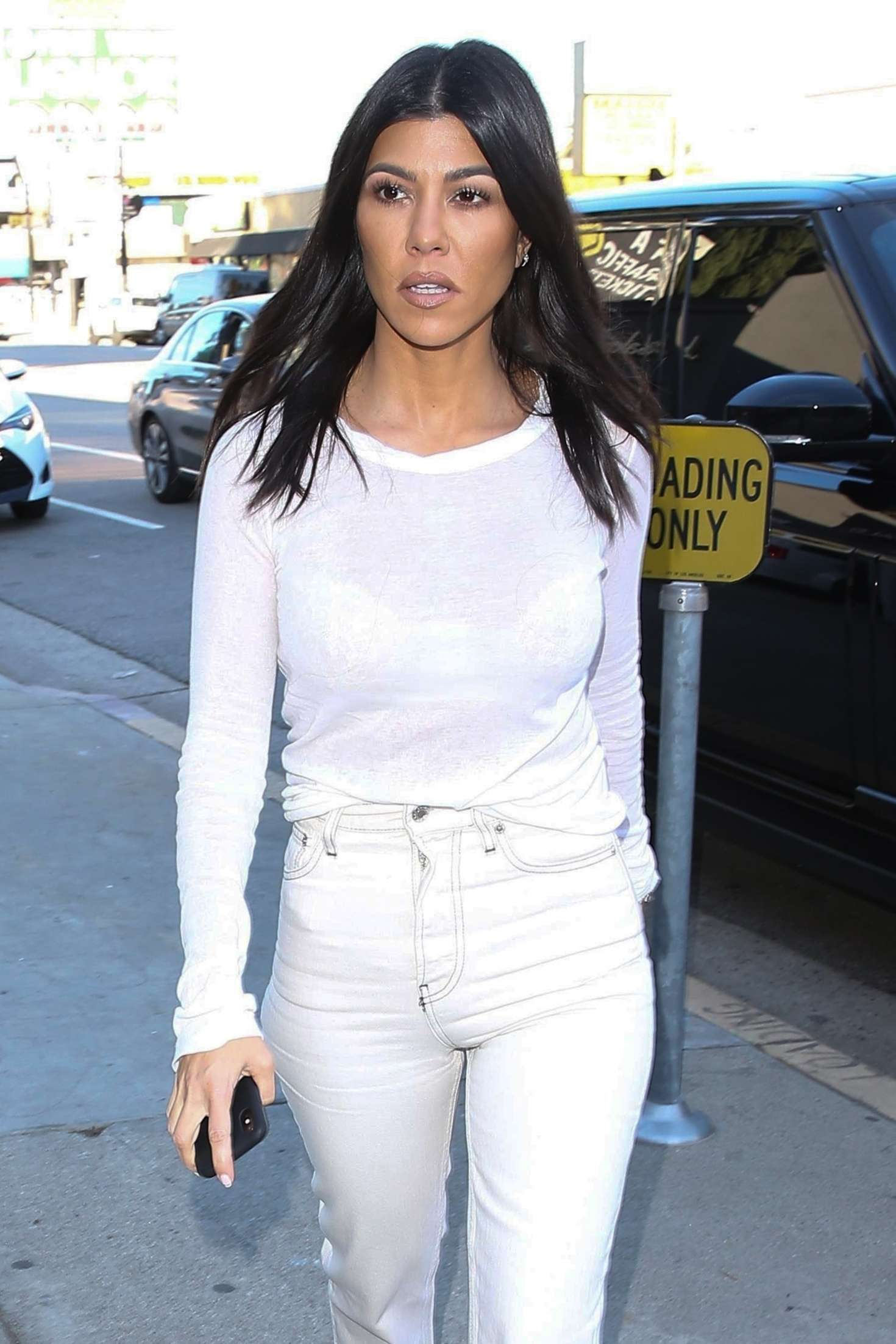 Kourtney Kardashian in White - Out in Los Angeles