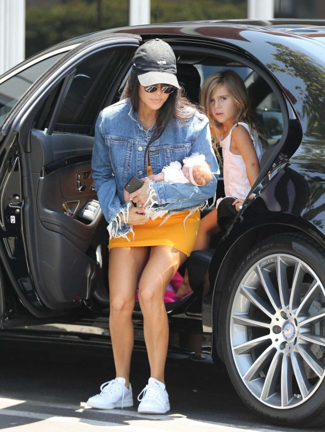 Kourtney Kardashian in Yellow Mini Dress -03