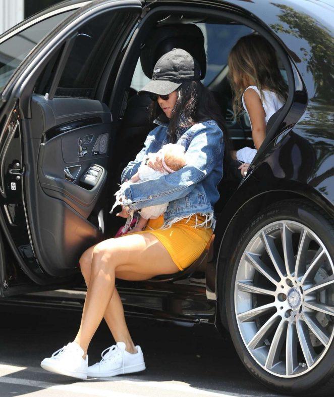 Kourtney Kardashian in Yellow Mini Dress -06