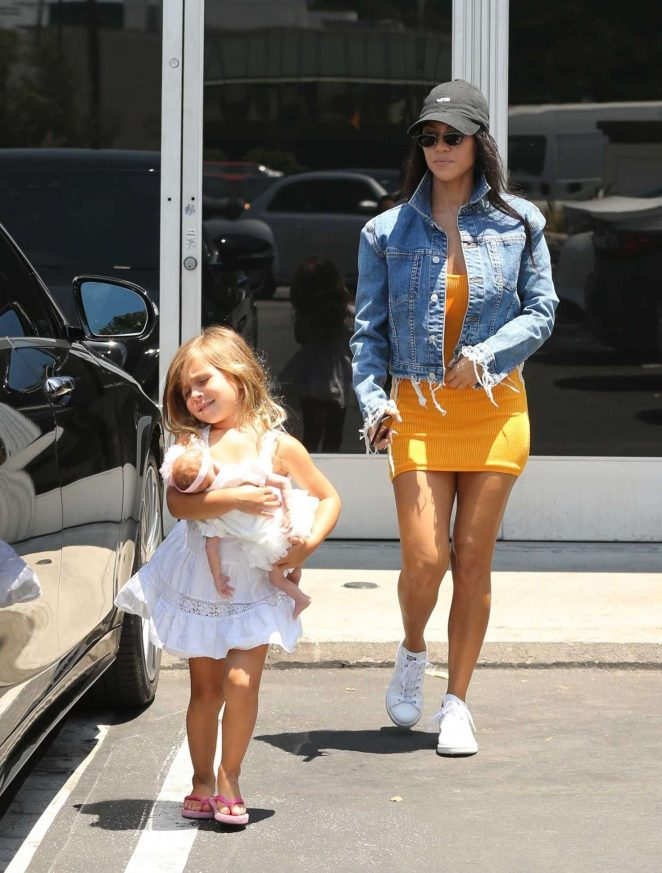 Kourtney Kardashian in Yellow Mini Dress -16