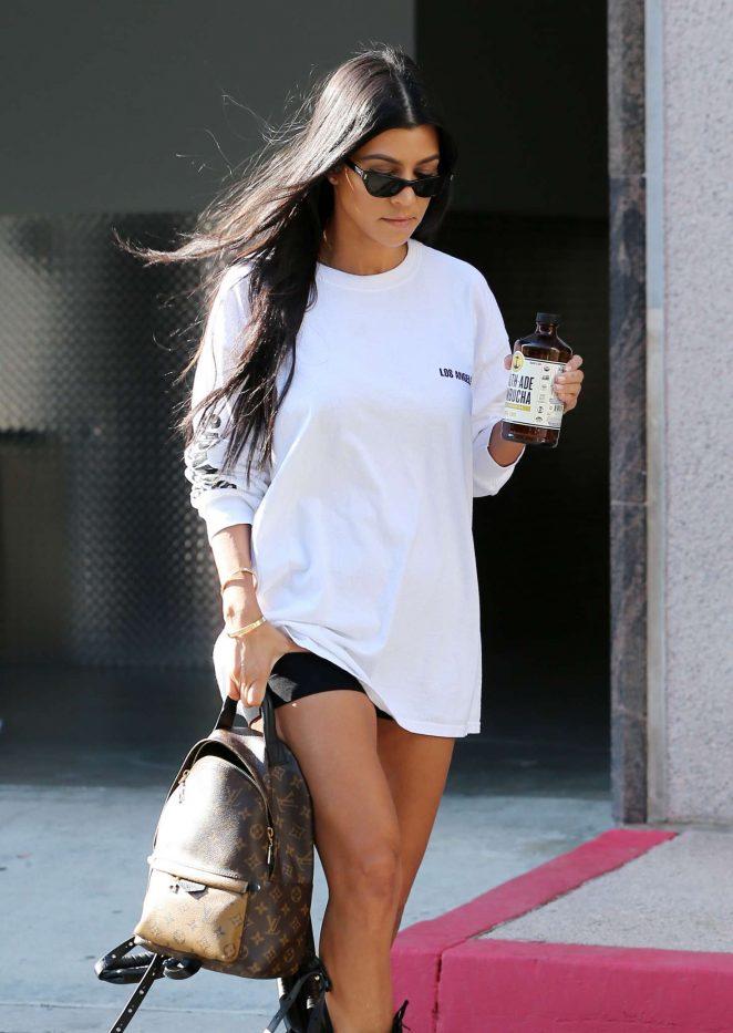 Kourtney Kardashian Leaves an office in Los Angeles