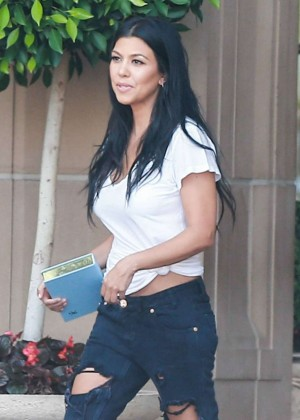 Kourtney Kardashian in Ripped Jeans at Montage Beverly Hills