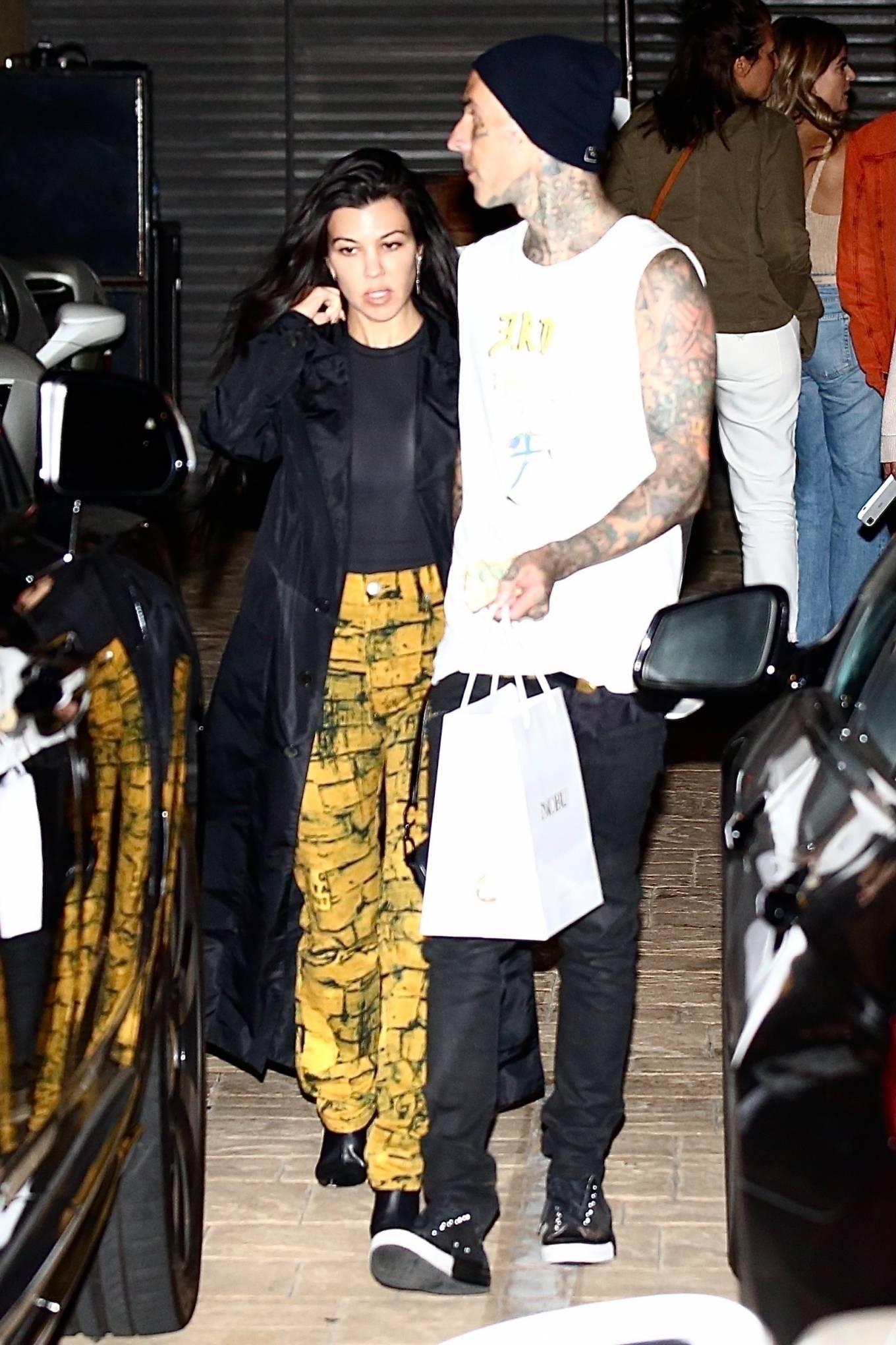 Kourtney Kardashian 2021 : Kourtney Kardashian – With boyfriend Travis Barker seen at Nobu in Malibu-01