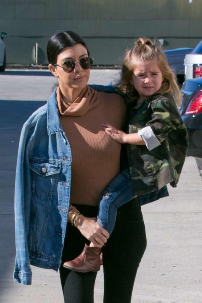 Kourtney Kardashian with her family in Woodland Hills