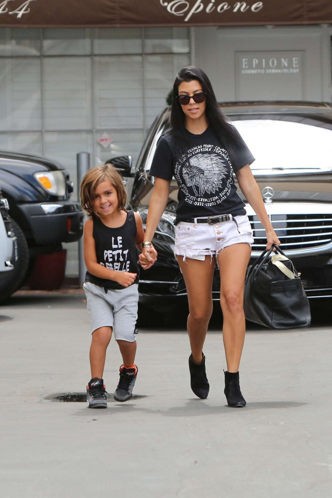 Kourtney Kardashian in Shorts with her son in Beverly Hills