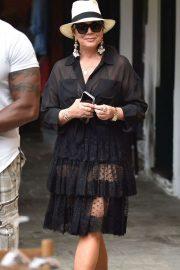 Kris Jenner in Black Dress on holiday on Portofino