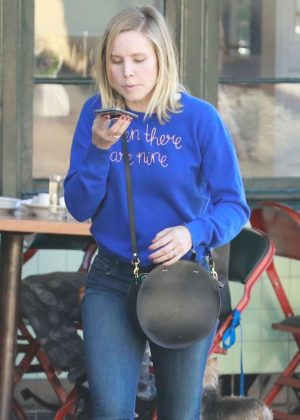 Kristen Bell at Little Dom's Restaurant in LA
