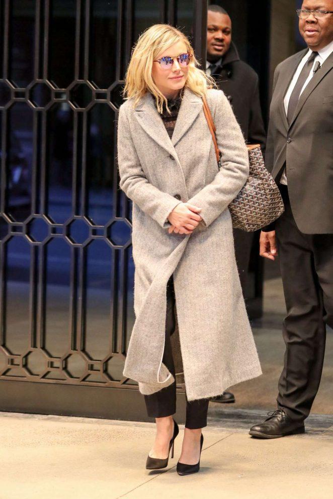 Kristen Bell in Long Coat Out in New York
