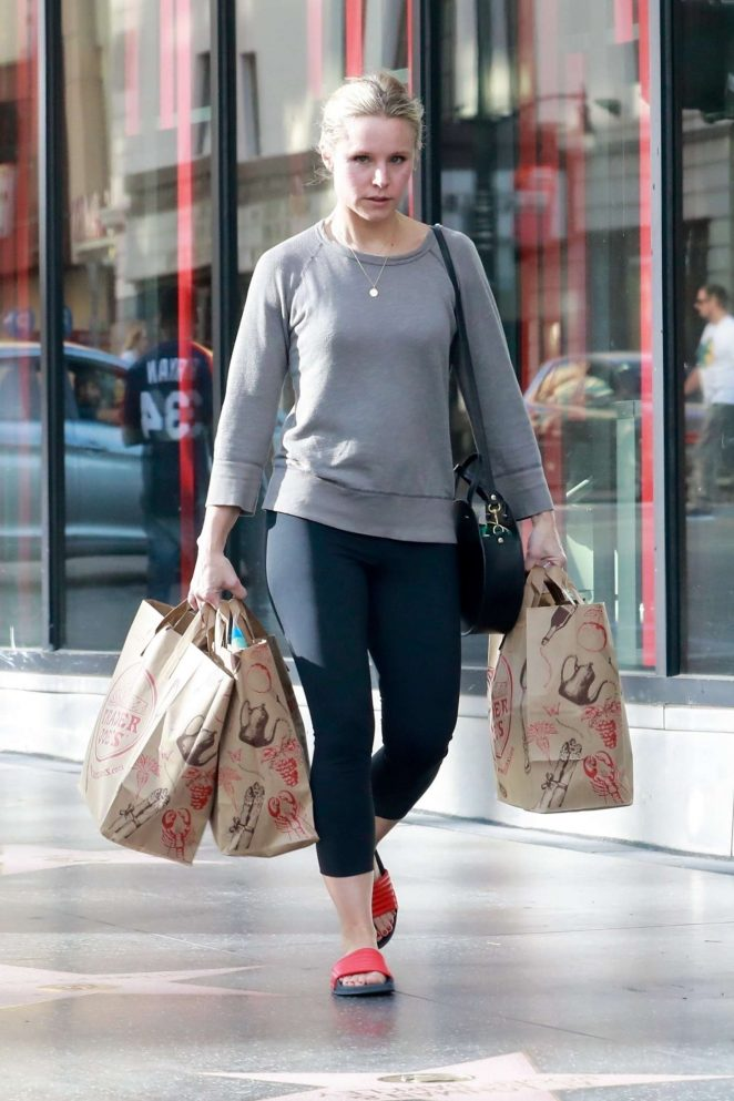 Kristen Bell in Tights Shopping at Trader Joe's in Hollywood