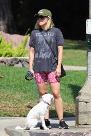Kristen Bell - Takes her white pooch on a walk through Griffith Park in Los Angeles