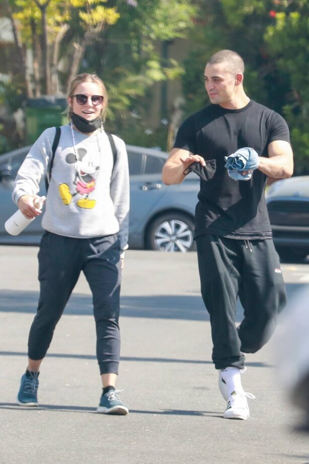 Kristen Bell - With Benjamin Levy Aguilar at the gym in Los Angeles