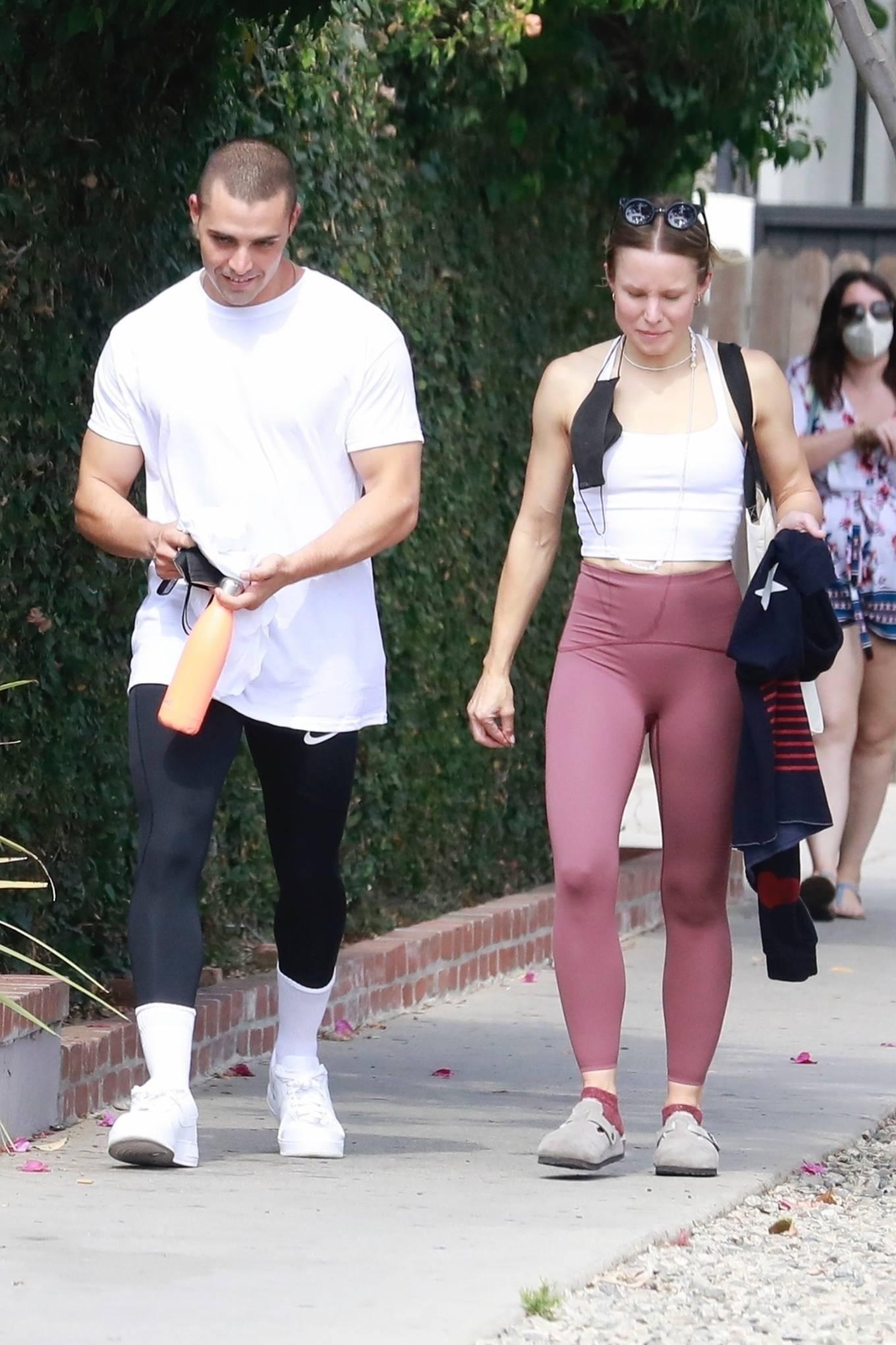 Kristen Bell 2021 : Kristen Bell – With Benjamin Levy Aguilar head to workout in Los Feliz-15