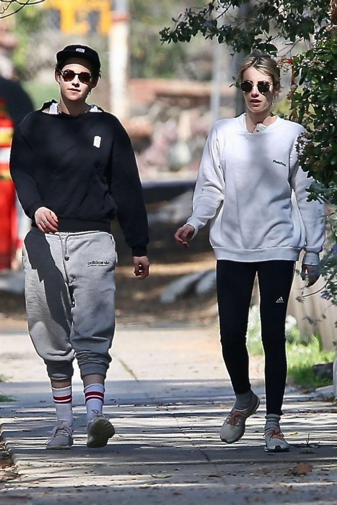 Kristen Stewart and Emma Roberts out for a walk in Los Feliz