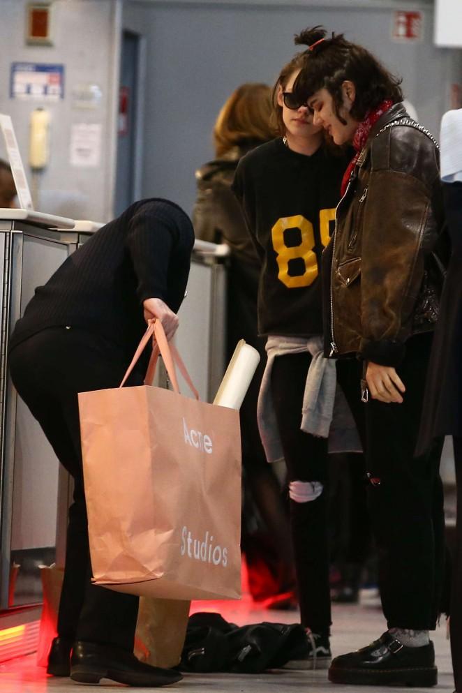 Kristen Stewart 2016 : Kristen Stewart and girlfriend SoKo at Charles de Gaulle Airport -20