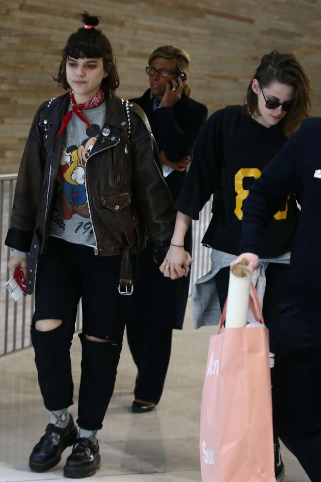 Kristen Stewart and girlfriend SoKo at Charles de Gaulle Airport -21