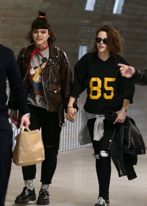 Kristen Stewart and girlfriend SoKo at Charles de Gaulle Airport in Paris