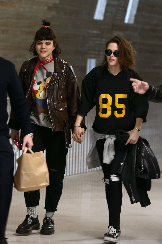 Kristen Stewart and girlfriend SoKo at Charles de Gaulle Airport in Paris
