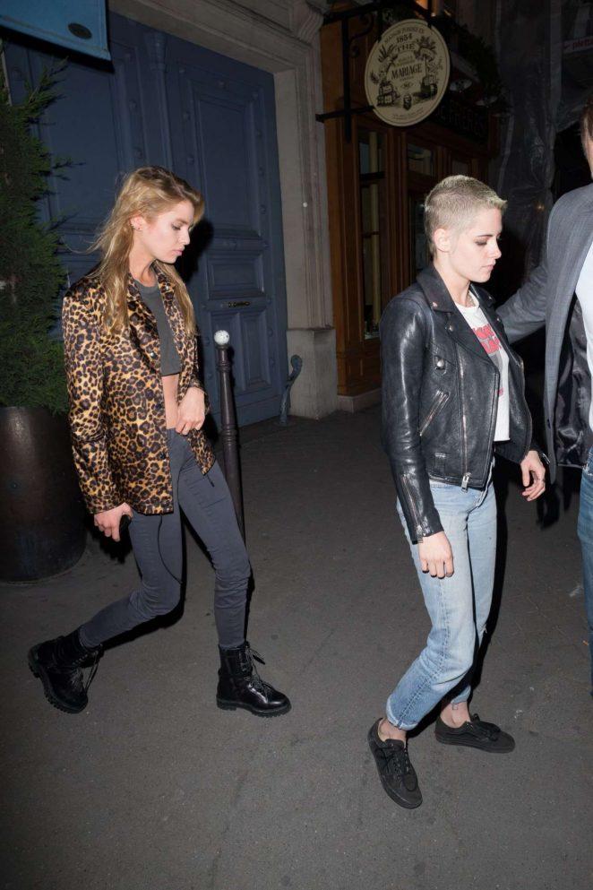 Kristen Stewart and Stella Maxwell at Caviar Kaspia in Paris